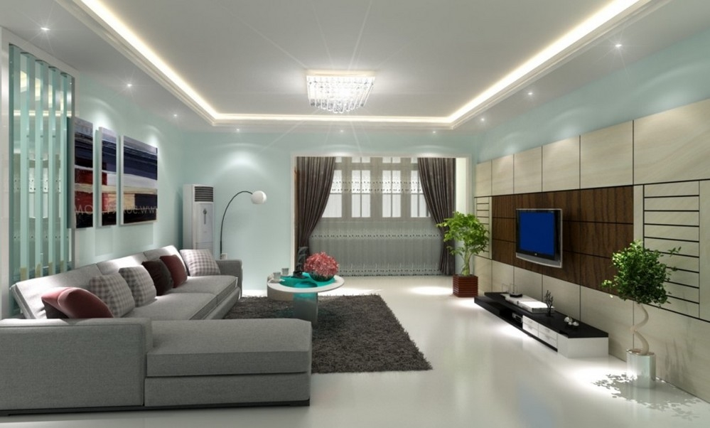 Blue-And-White-Paint-Colors-For-Living-Room-With-Recessed-Light